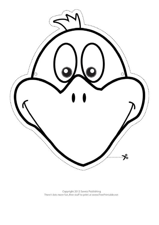 Bird Mask Outline Template printable pdf download