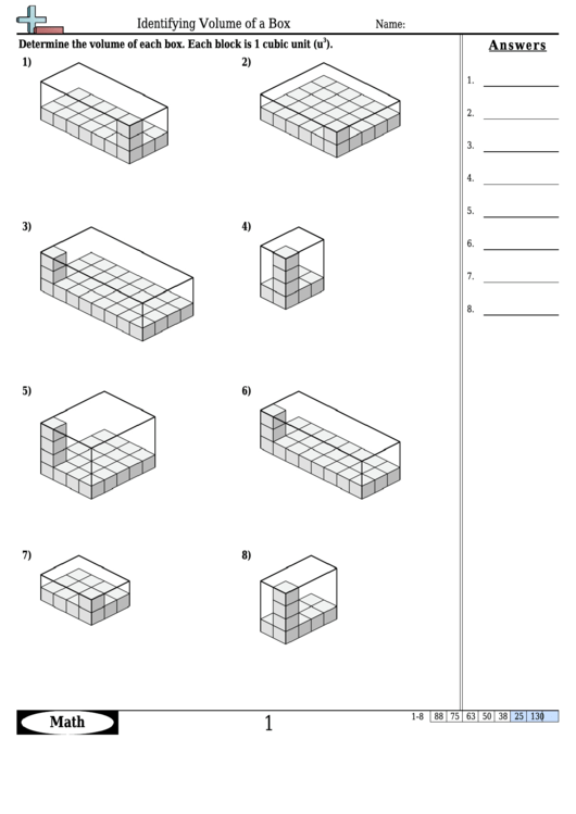 Identifying Volume Of A Box Math Worksheet With Answers