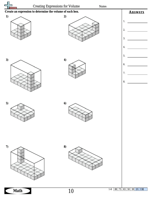 Creating Expressions For Volume Math Worksheet With