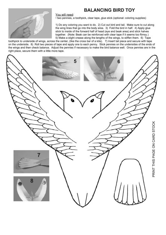 Balancing Bird Toy Template printable pdf download