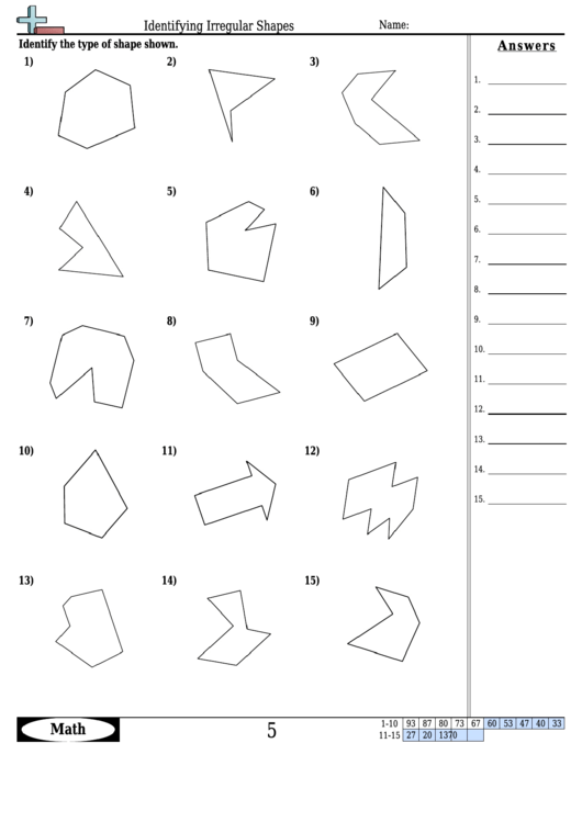 Identifying Irregular Shapes Worksheet With Answer Key