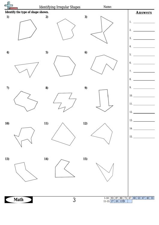 Identifying Irregular Shapes Worksheet With Answer Key
