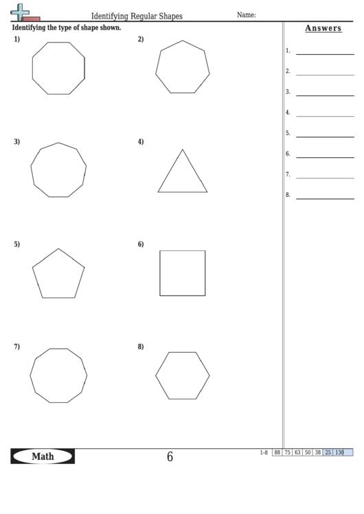 Identifying Regular Shapes Worksheet With Answer Key