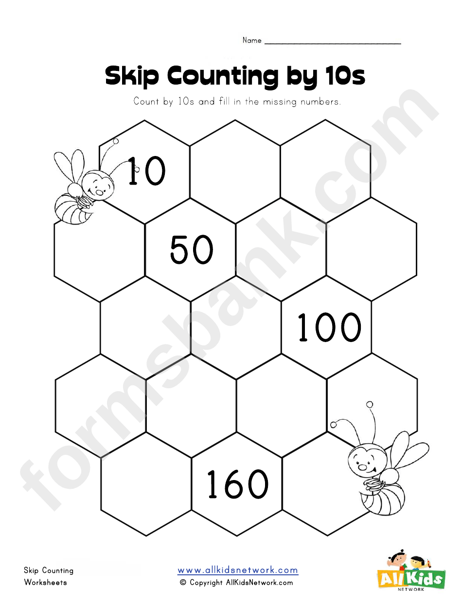 Skip Counting By 10s Worksheet Template printable pdf download