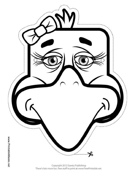 Eagle Bow Mask Outline Template printable pdf download