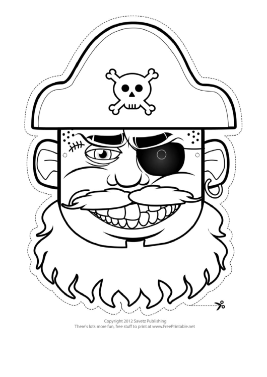 Pirate Hat Mask Outline Template printable pdf download