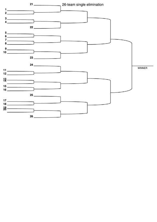 26-Team Single Elimination Bracket printable pdf download