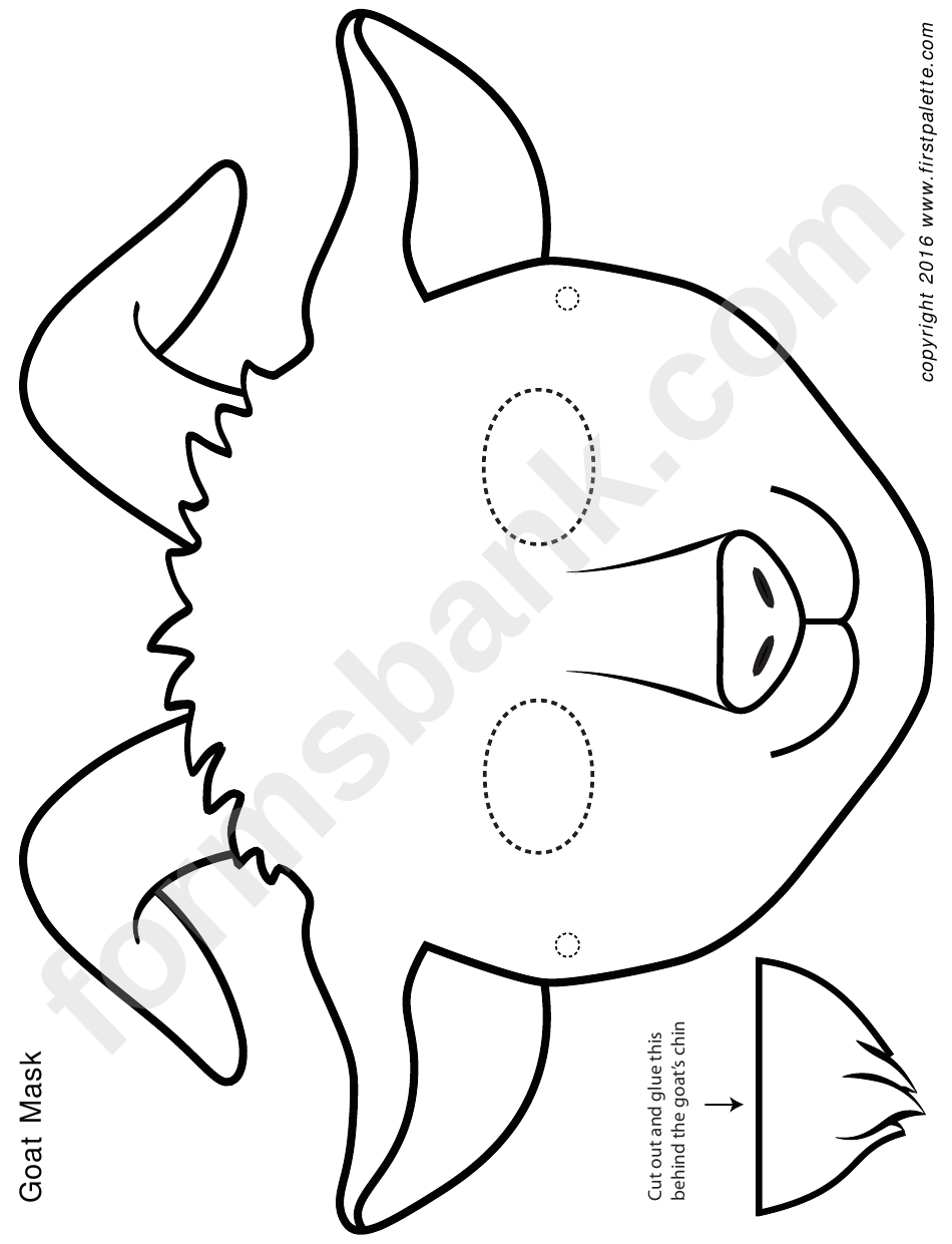 Black/white Goat Mask Template printable pdf download