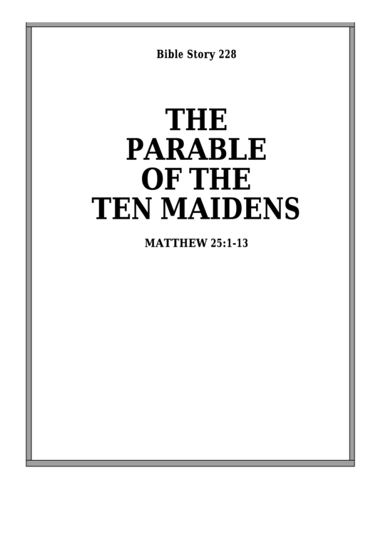 The Parable Of The Ten Maidens Bible Activity Sheet Set