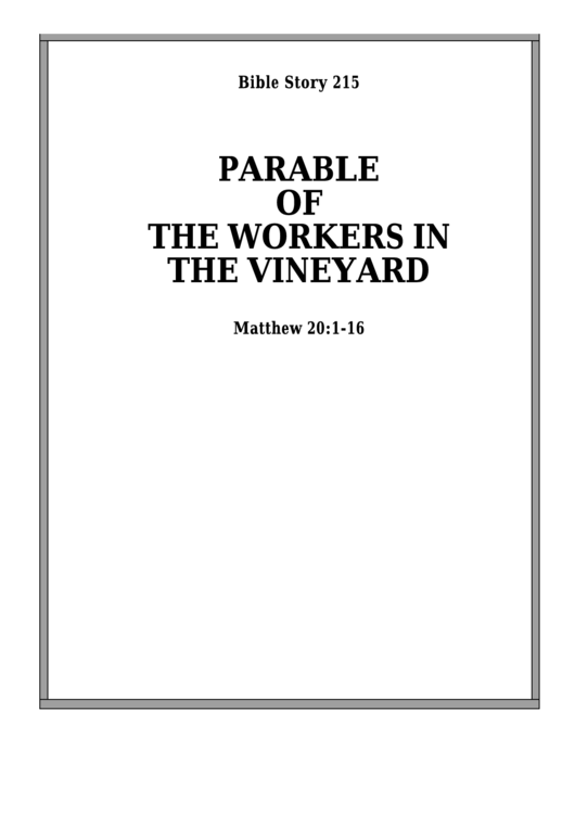 Parable Of The Workers In The Vineyard Bible Activity
