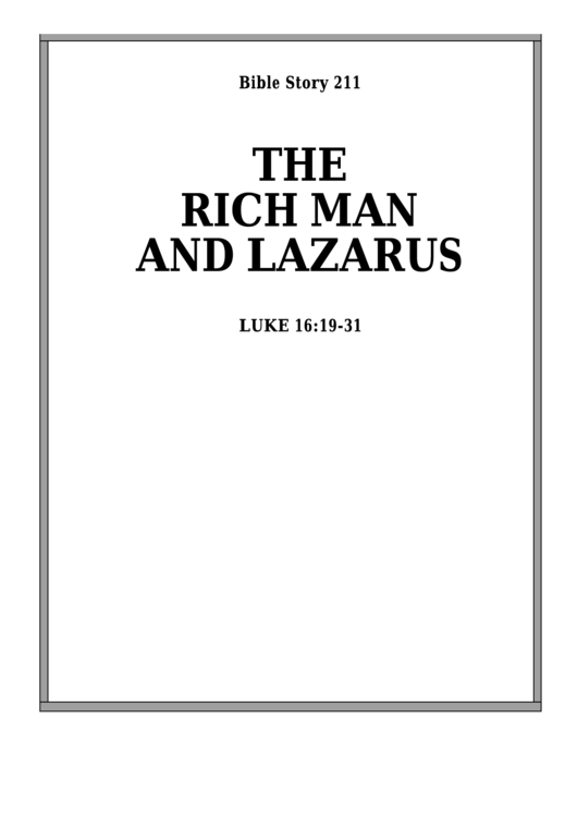 The Rich Man And Lazarus Bible Activity Sheet Set
