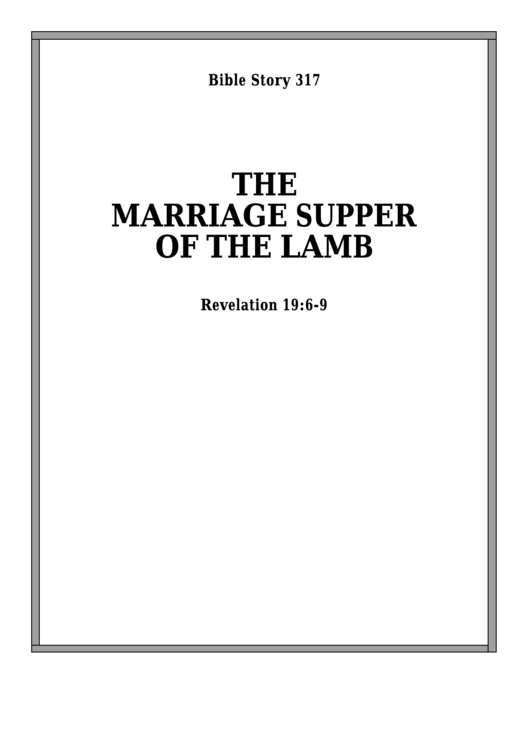 The Marriage Supper Of The Lamb Bible Activity Sheet
