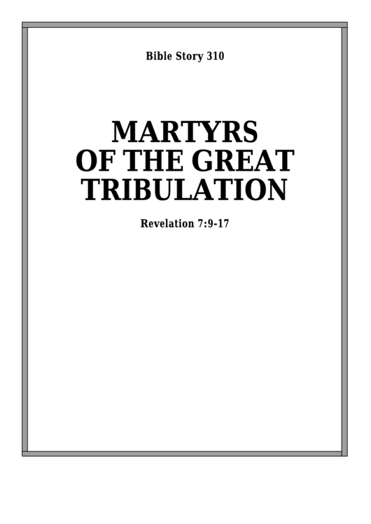 Martyrs Of The Great Tribulation Bible Activity Sheet