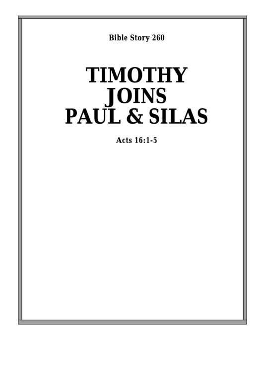 Timothy Joins Paul And Silas Bible Activity Sheets