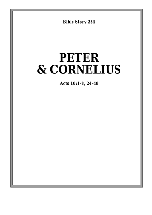 Peter And Cornelius Bible Activity Sheets printable pdf