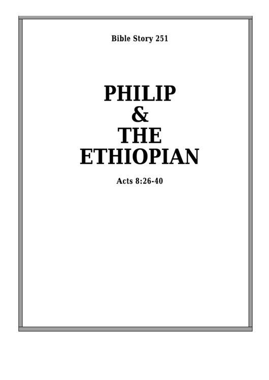 Philip And The Ethiopian Bible Activity Sheets printable