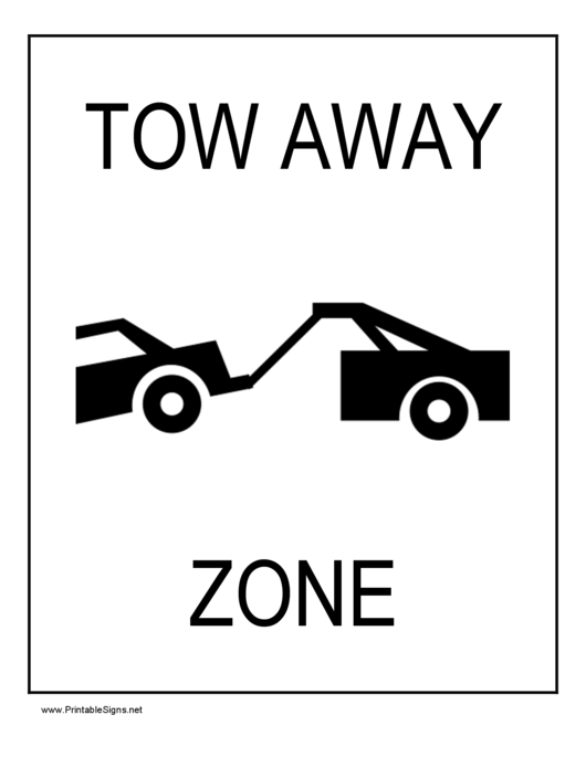 Tow Away Zone printable pdf download