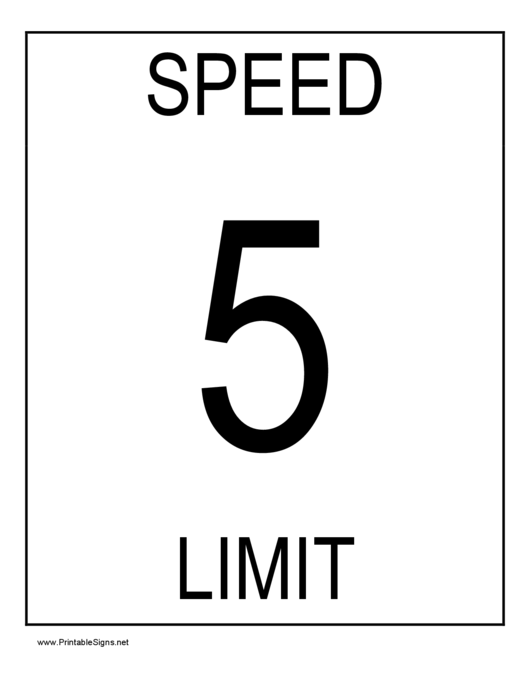 Fillable 5 Speed Limit Sign Templates printable pdf download