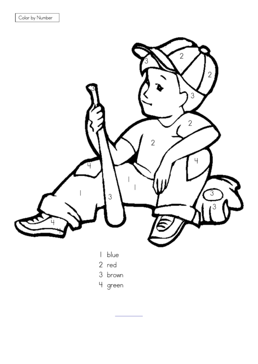 Boy With A Baseball Bat Color By Number Sheet printable