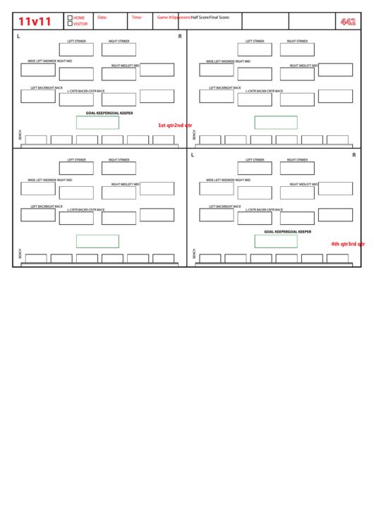 Soccer Formation Lineup Sheet printable pdf download