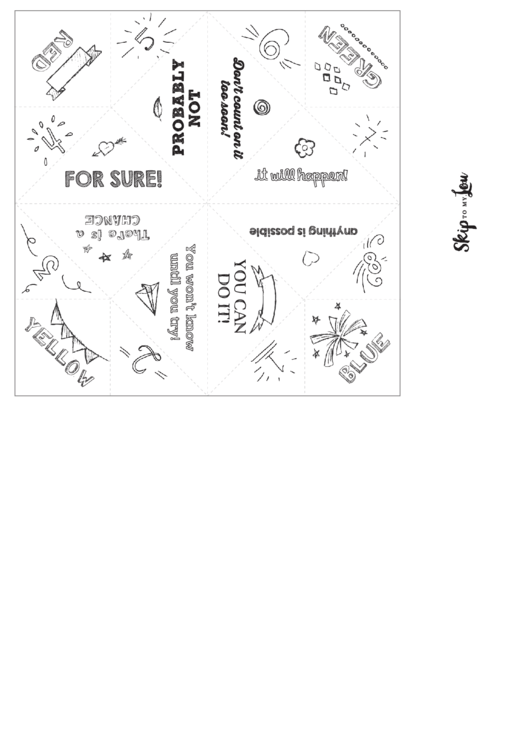 Origami Fortune Teller Template printable pdf download