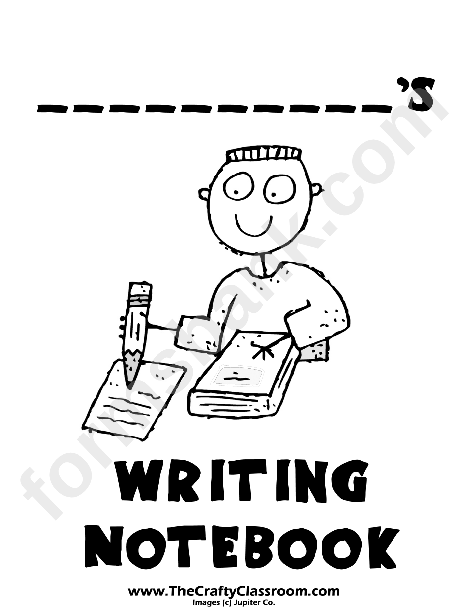 Writing Notebook Cover Page Template For Boys printable
