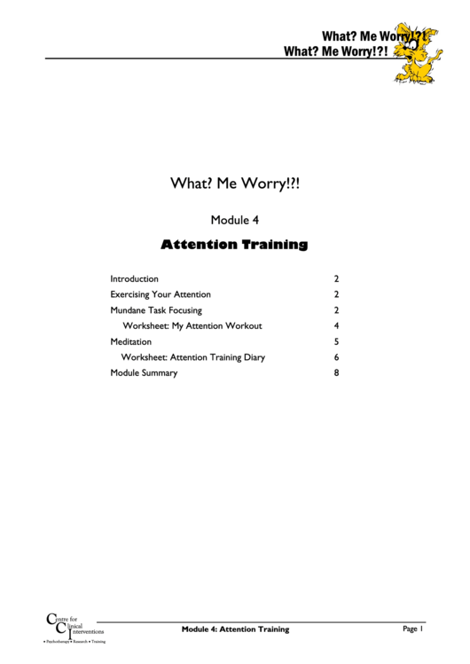Attention Training Worksheet Template printable pdf download