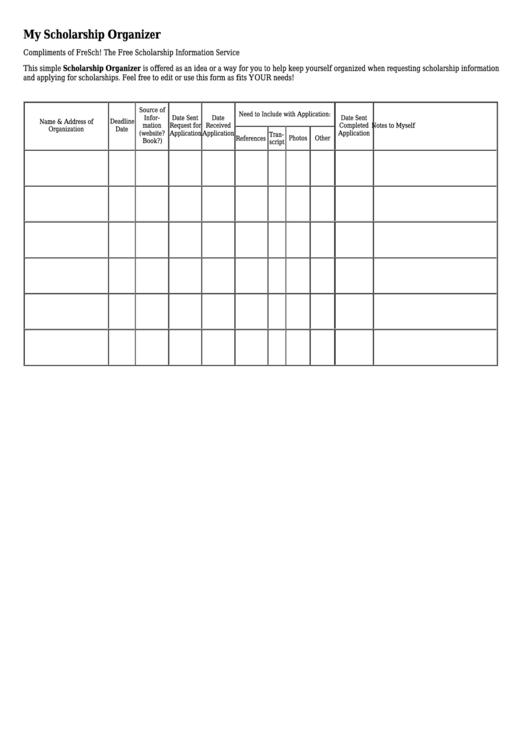 My Scholarship Organizer Template printable pdf download