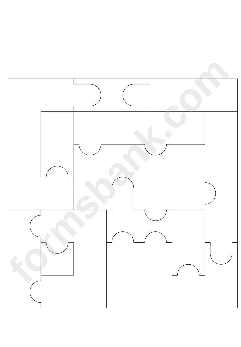 16 Pieces Puzzle Template printable pdf download
