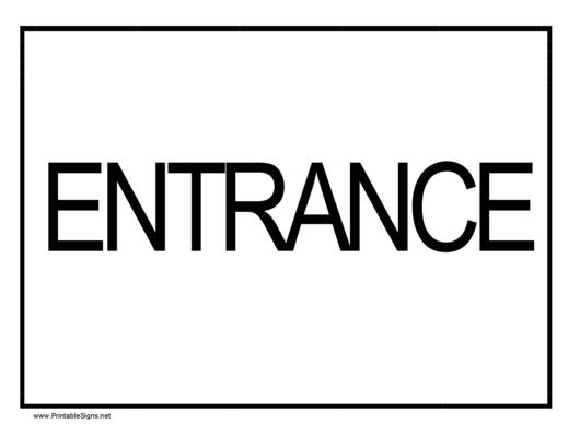 Entrance Sign printable pdf download