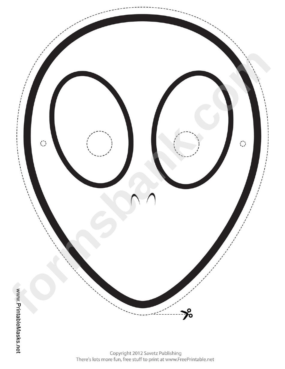 Alien Outline Mask Template printable pdf download