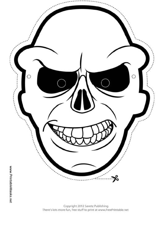 Skull Outline Mask Template printable pdf download