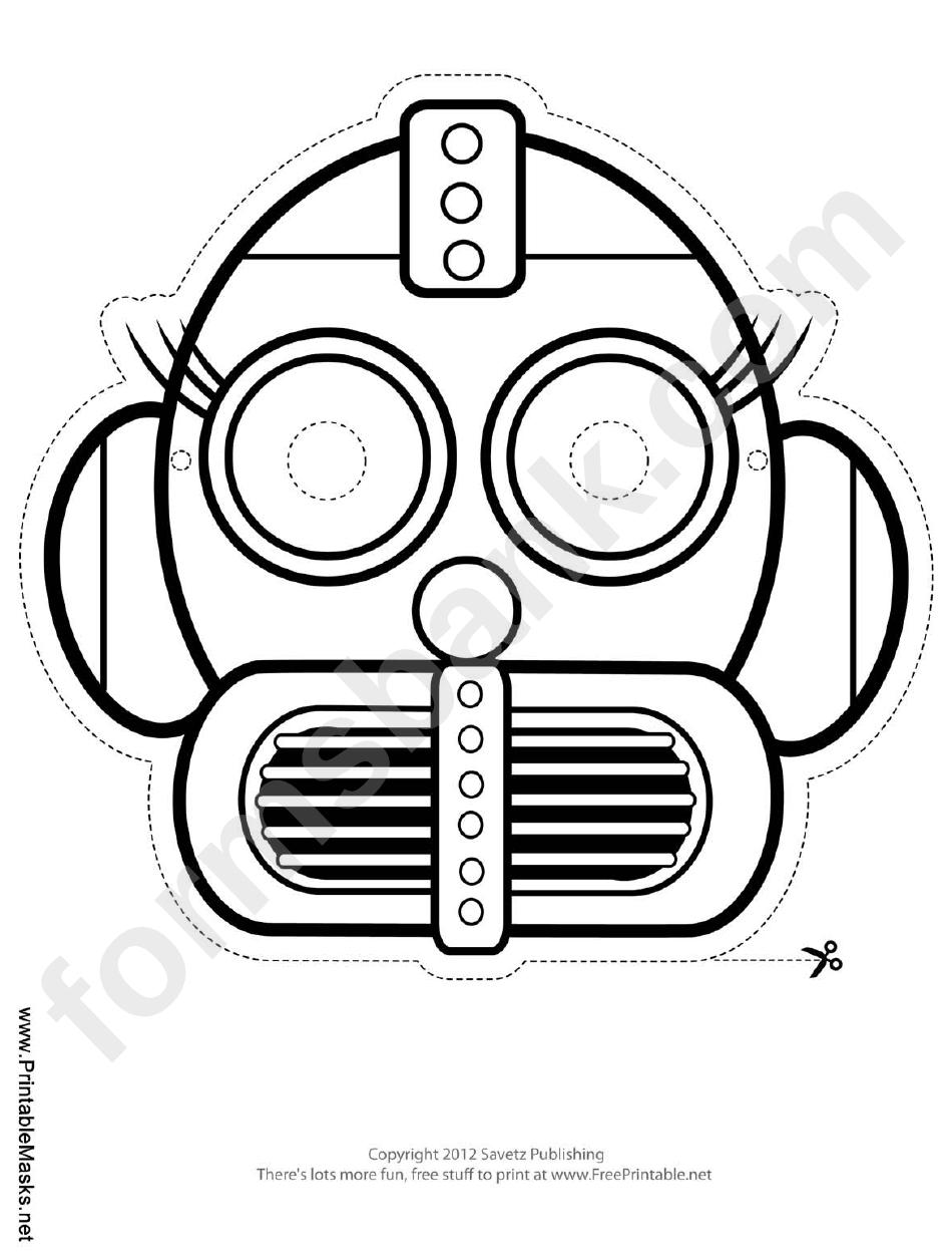 Robot Eyelashes Outline Mask Template printable pdf download
