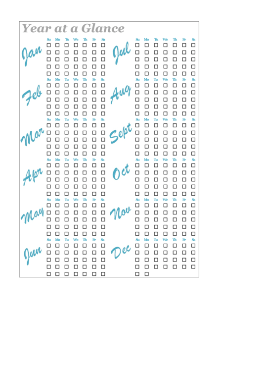 Year-At-A-Glance Bullet Journal Template printable pdf