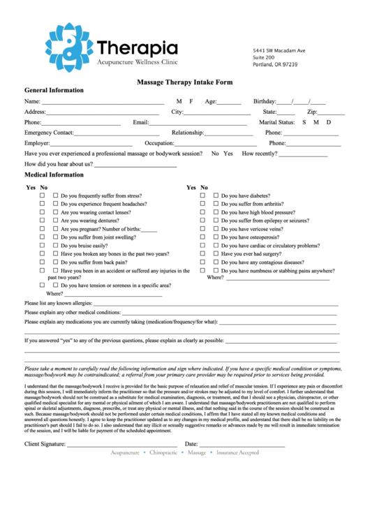 Massage Therapy Intake Form printable pdf download