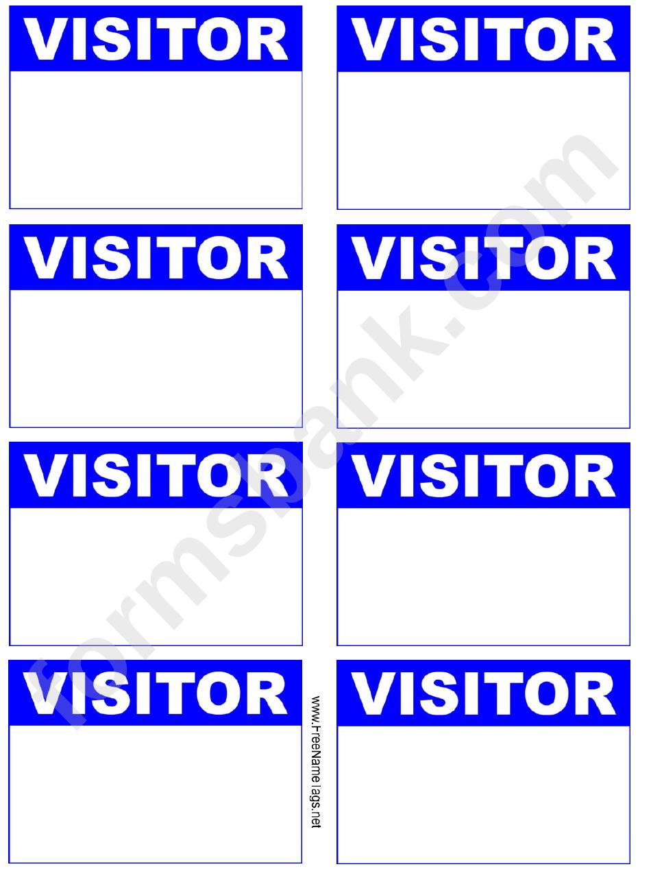 Visitor Badge Blue Name Tag Template printable pdf download