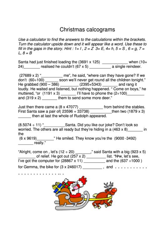 Christmas Calcograms Worksheet Printable Download