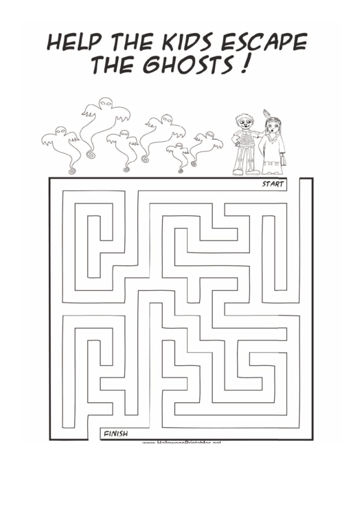 Kids Ghosts Maze Template printable pdf download