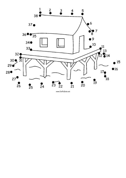 House On Stilts Dot-To-Dot Sheet printable pdf download