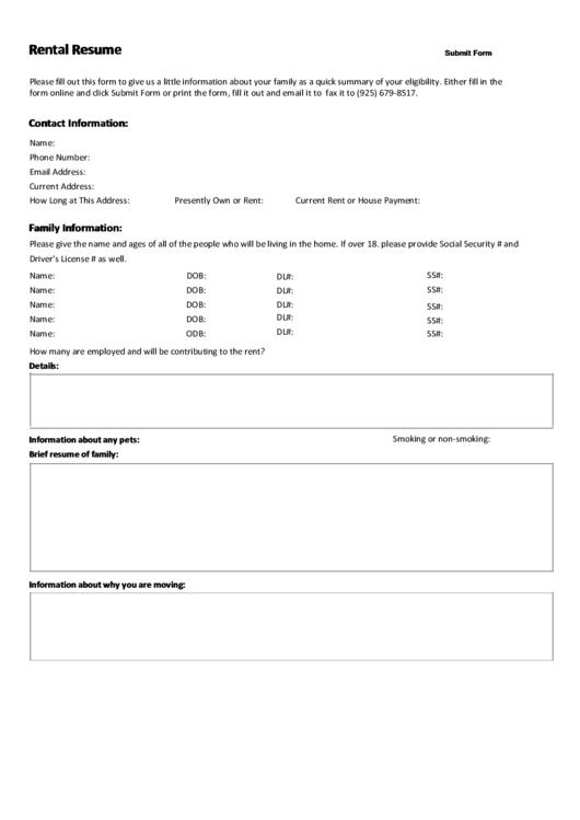 Fillable Rental Resume Template For Tenant Printable Pdf