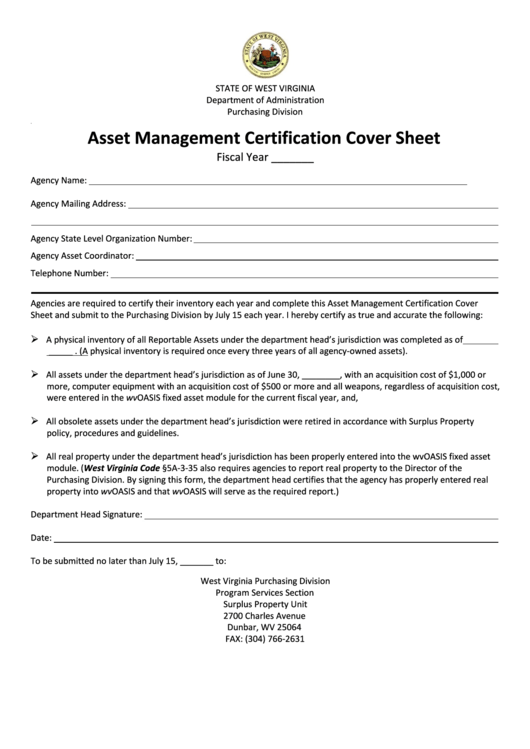 Fillable Asset Management Certification Cover Sheet printable pdf download