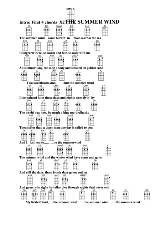 The Summer Wind Chord Chart printable pdf download
