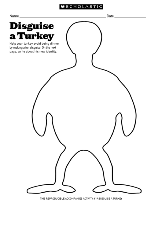 Disguise A Turkey Scholastic printable pdf download