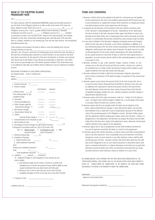 Bank Of The Philippine Islands Promissory Note printable
