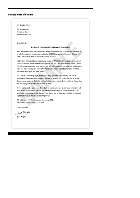 Sample Letter Of Demand Template printable pdf download