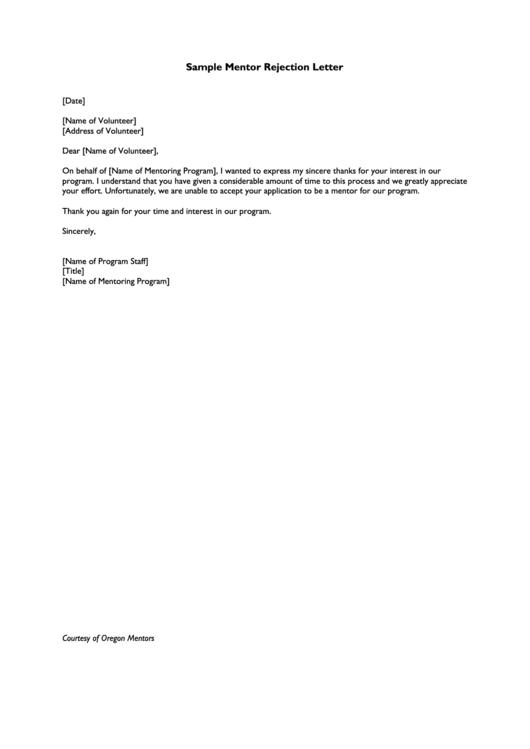 Sample Mentor Rejection Letter Template printable pdf download