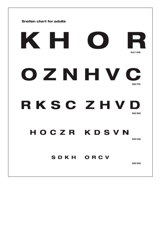 Snellen Chart For Adults printable pdf download