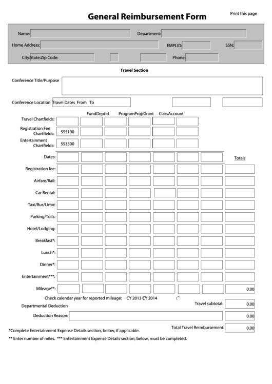 Fillable General Reimbursement Form printable pdf download