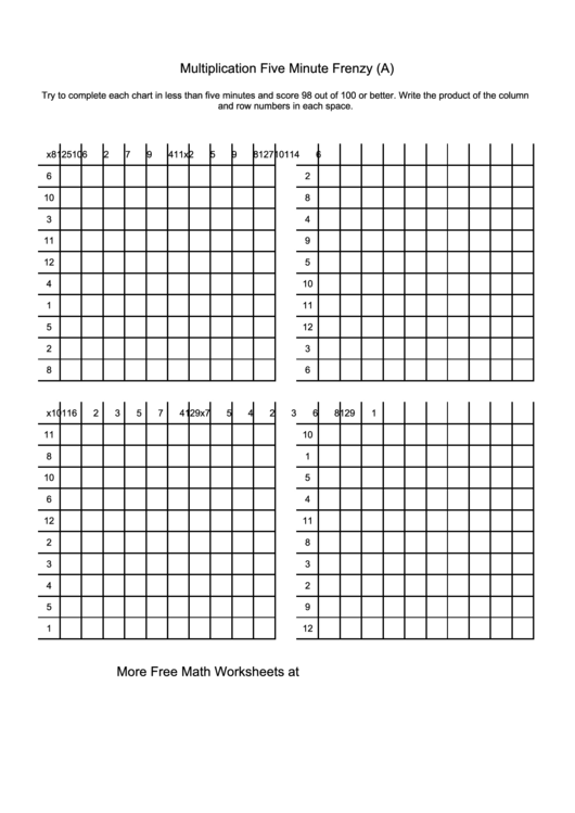 Multiplication Five Minute Frenzy Worksheet With Answers