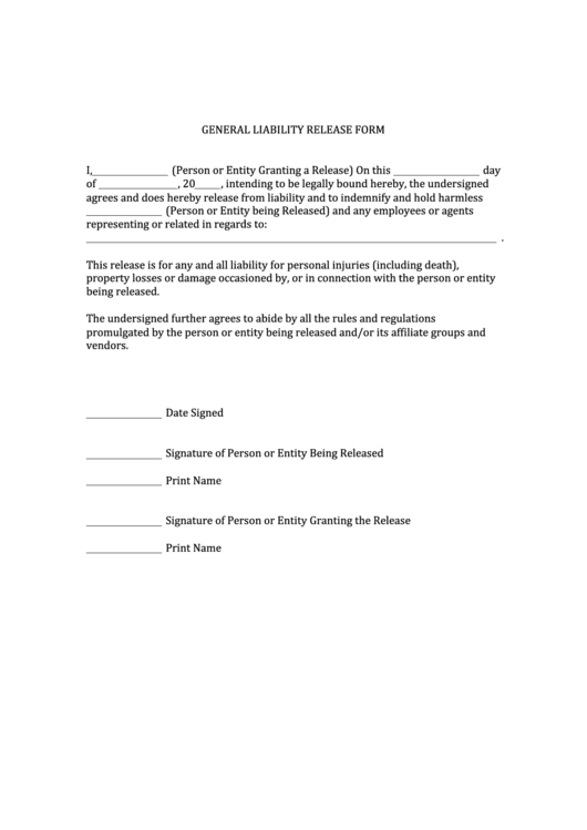 Top 24 General Release Of Liability Form Templates free to download ...